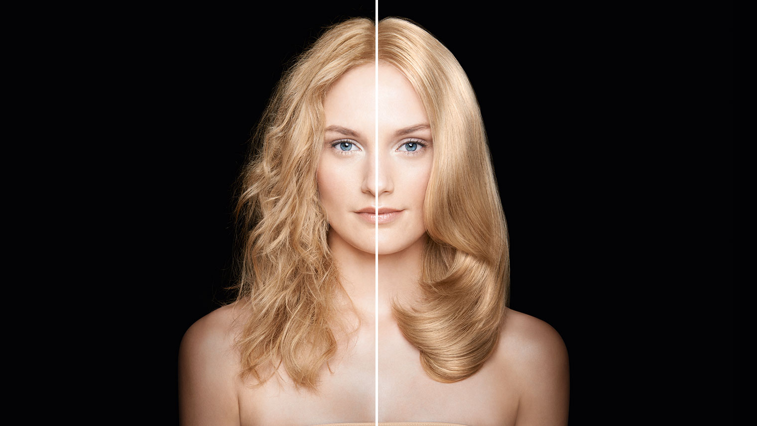 Image of female with blonde hair from frizzy to smooth